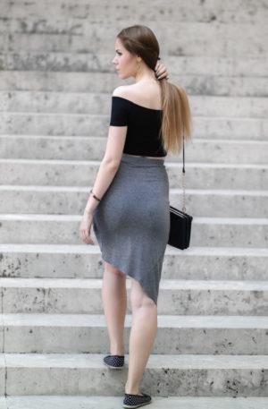 TheRubinRose-Modeblog München-Modeblog Deutschland-Fashionblog München-Crop Top- kurzes Top-asymmetrischer Rock-Minirock-Rock-Ballerina-Espadrilles-ombré Haare-ombré blond