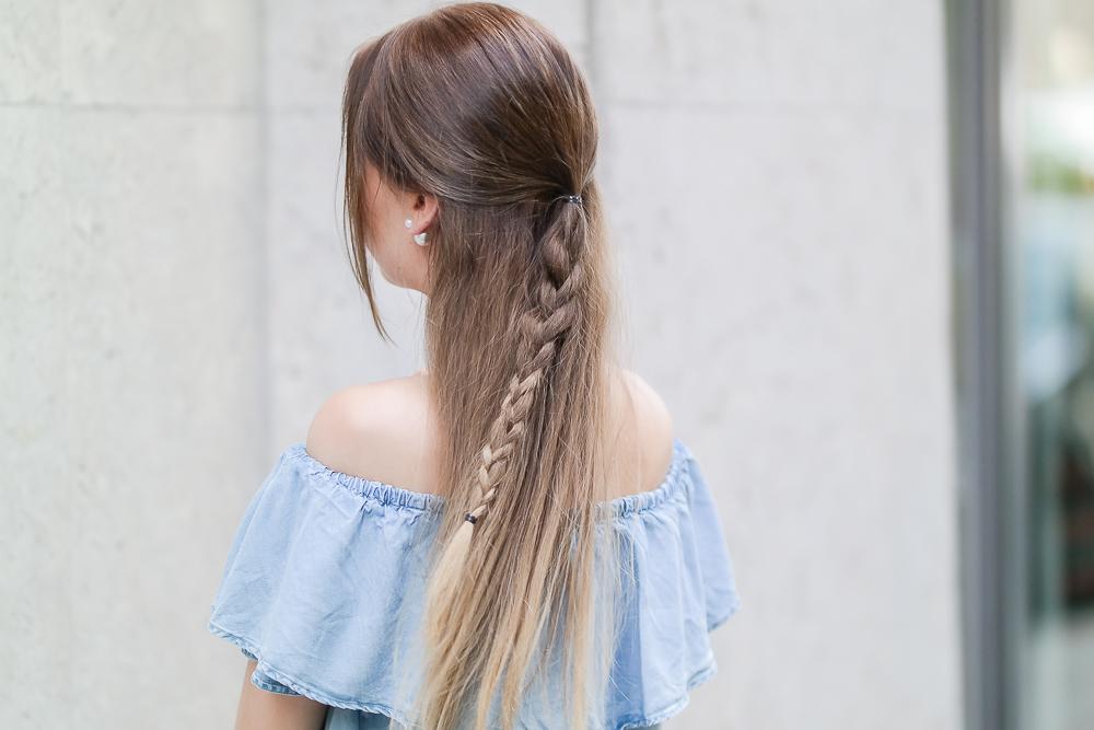 geflochtene lange Haare Balayage