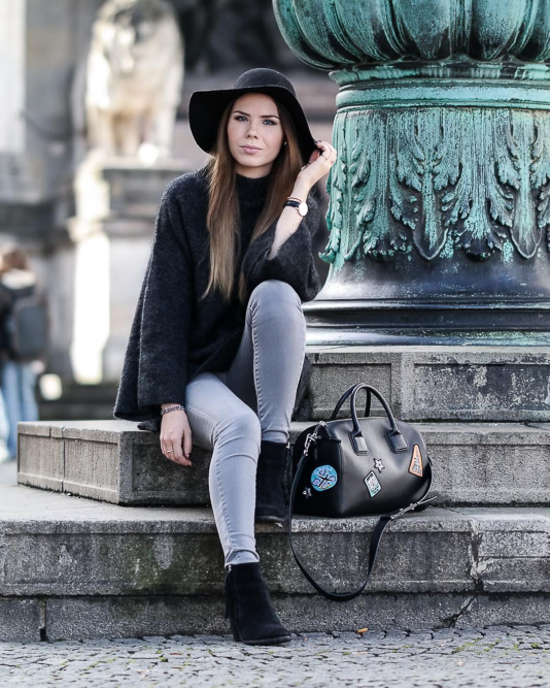 H&M Oversize Pullover & schwarzer Filzhut