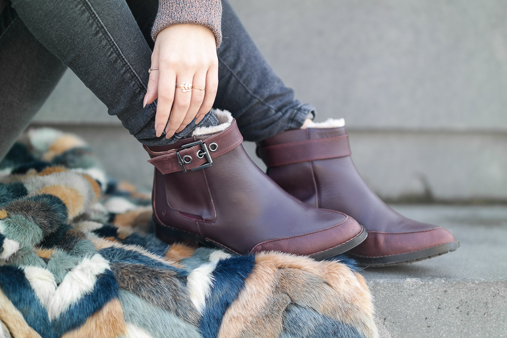 gefütterte EMU Australia Chelsea Boots bordeaux dunkelrot