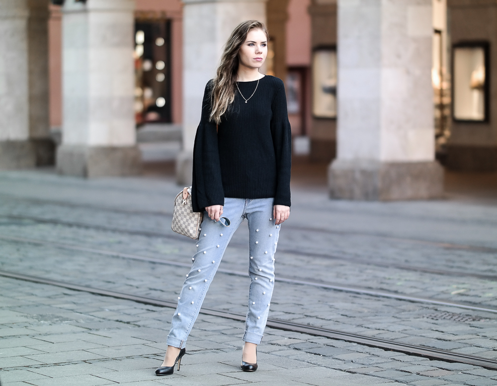 Outfit Perlen Jeans Pullover