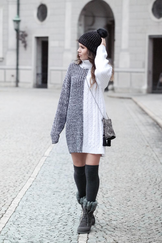Pullover Kleid Emu Stiefel grau Kniestrümpfe