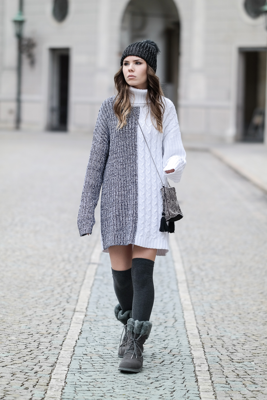 Pullover Kleid Emu Stiefel grau