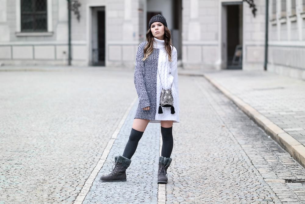 grau weiß Pulloverkleid