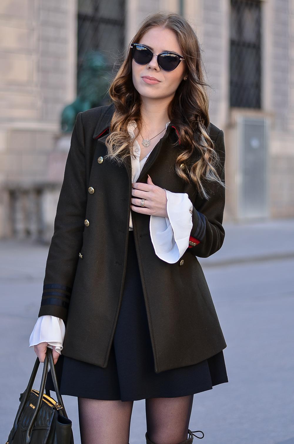 Khaki Military Jacke Zara-Knöpfe-Uniform Stil-Trompetenärmel-Sonnenbrille Asos-NUR DIE Strumpfhose