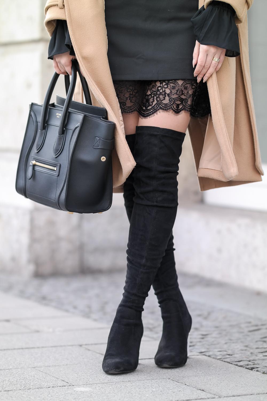 Nur-Die-Strumpfhose-Wie-eine-zweite-Haut-Amber-Spitzensaum-Rock-Celine-Tasche-Overknees-durchsichtiger-Absatz