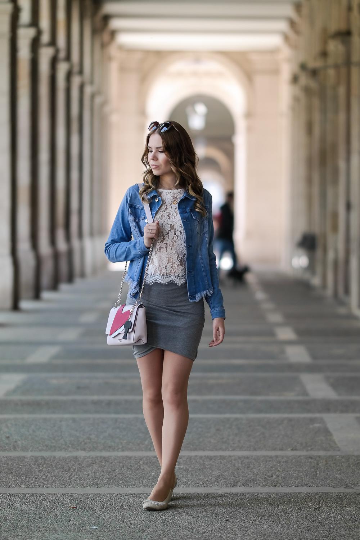 Guess-Look-Loavies-Spitzenoberteil-HM-Rock-Buffalo-Ballerina-Jeansjacke-Tasche-Sonnenbrille-Barcelona