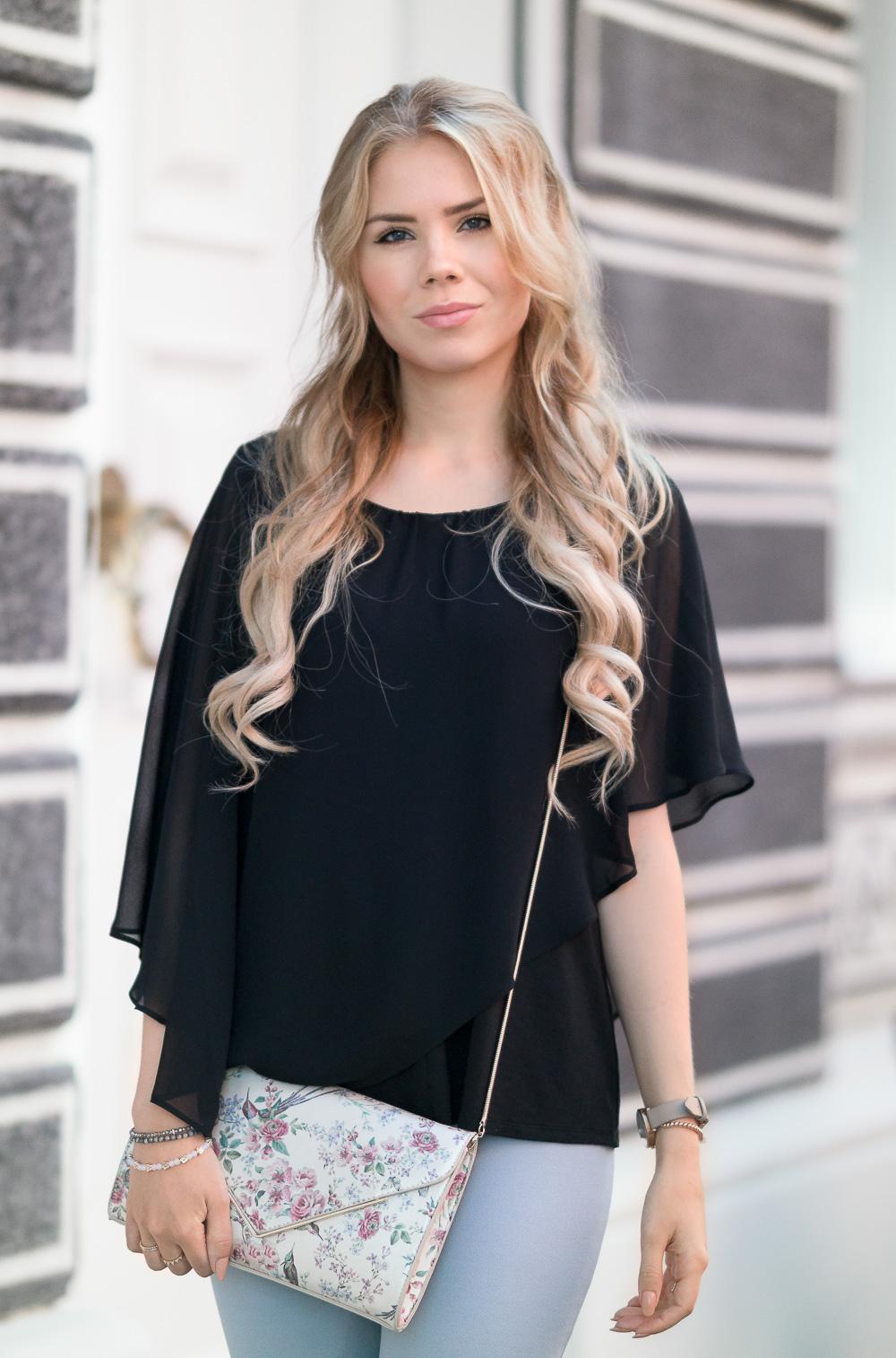 Modeblog Deutschland-Romantischer Look-schwarzes Oberteil-fliederfarbene Hose
