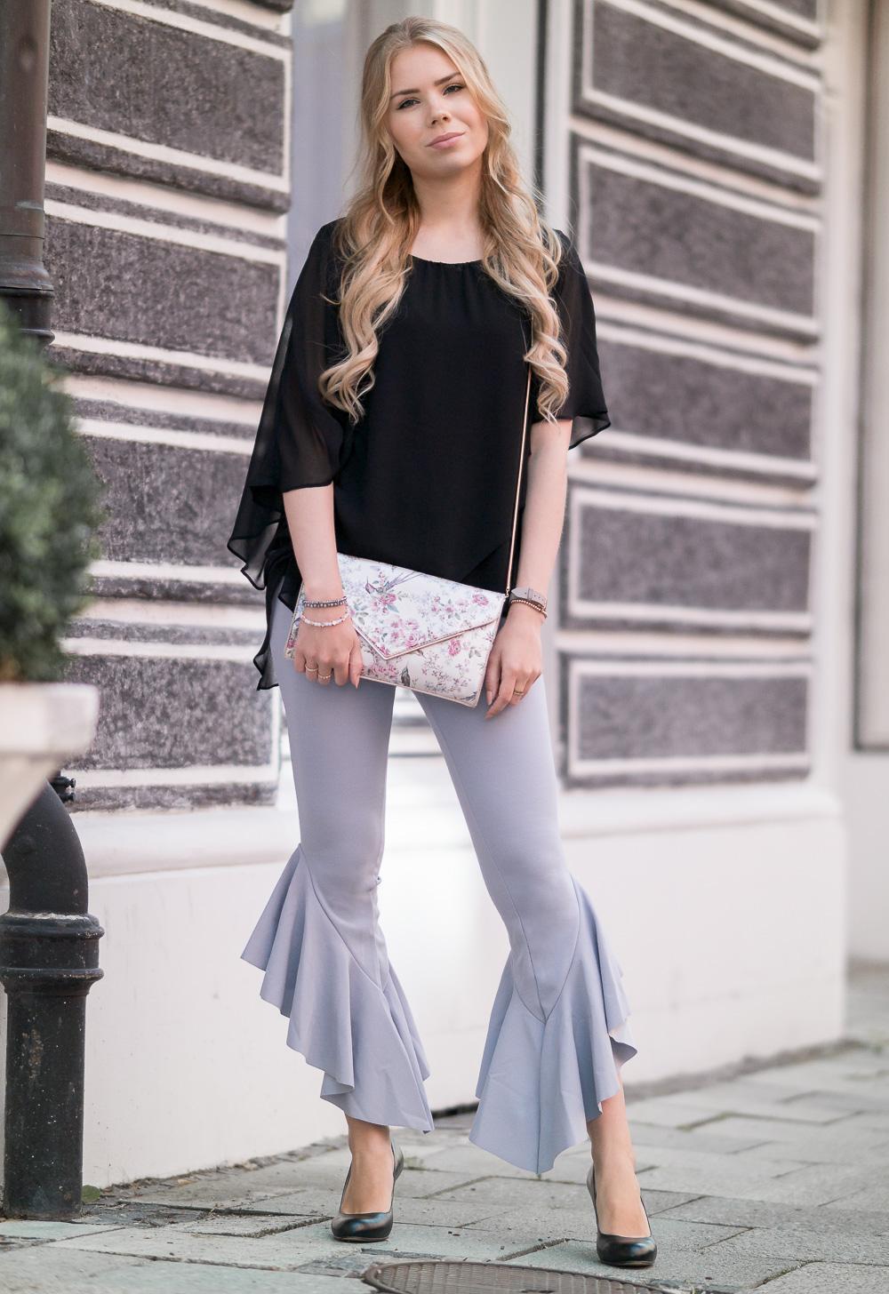 Fashion Blog München-Volant Trend - Outfit mit Rüschen Hose