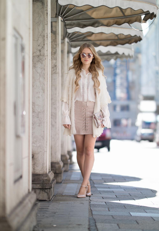 Rosa Rock mit Schnürung vorne-Herbst Look-Warmer Herbsttag-Sonnenbrille