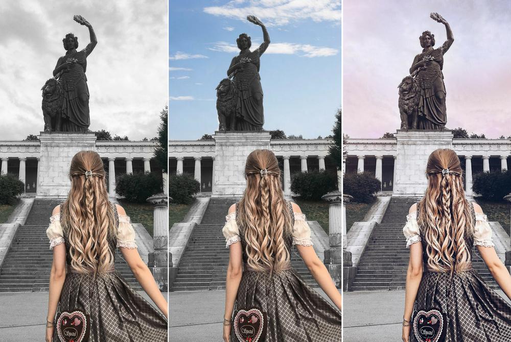 Blogger München-Bildbearbeitung-Blogger Tipps-Instagram Himmel bearbeiten-rosa Sonnenuntergang-strahlend blau-Sky Overlay-Sonne-Lichtreflexe