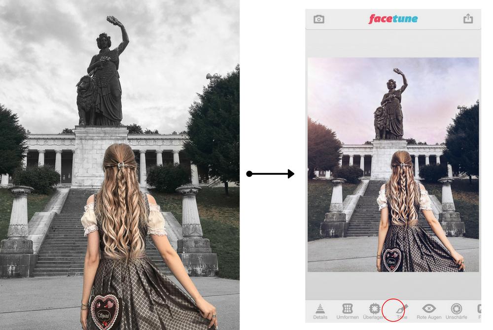 Instagram Blogger-München-Rosa Himmel bearbeiten-App Facetune