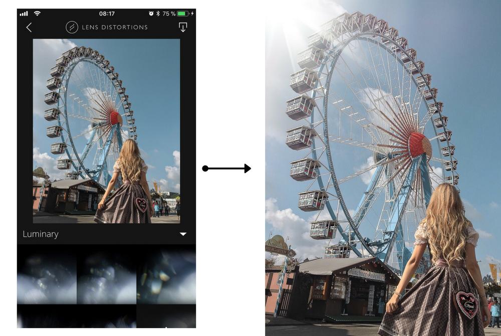 Bildbearbeitungs Apps-Sonne-Sonnenstrahlen-Lichter-Lights-Leaks-Flares mit LD App bearbeiten-Lens Distortions