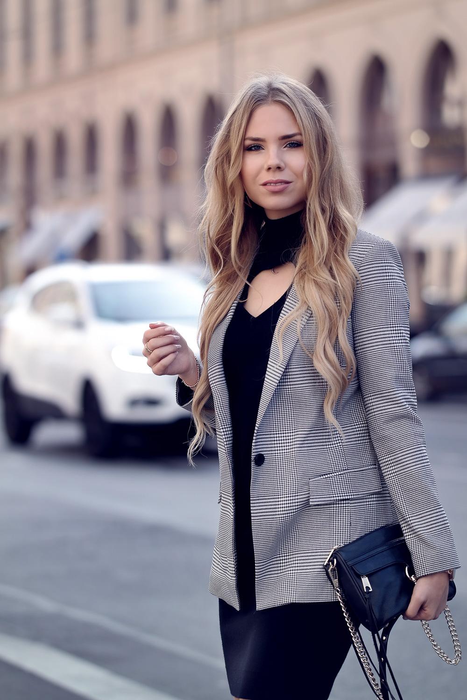 Glencheck Karo Muster-Fashionblogger München-kariert-Karos-Herbst Winter Trend-Glencheck Blazer-schwarzes Kleid-Rebecca Minkoff Bag