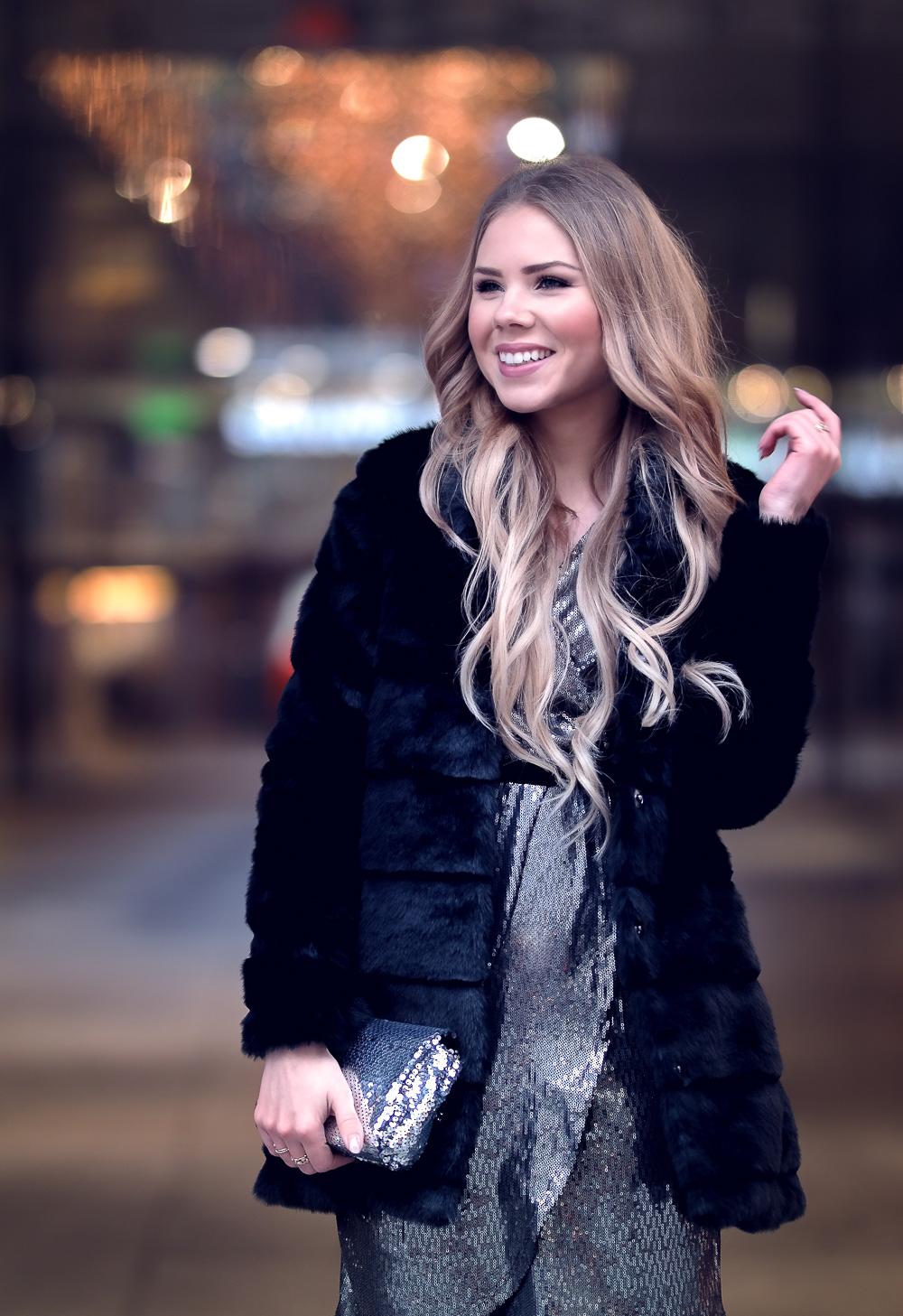 Modeblog-Glitzer Partykleid Orsay-Pailletten Tasche-Fake Fur Mantel-Party Styling