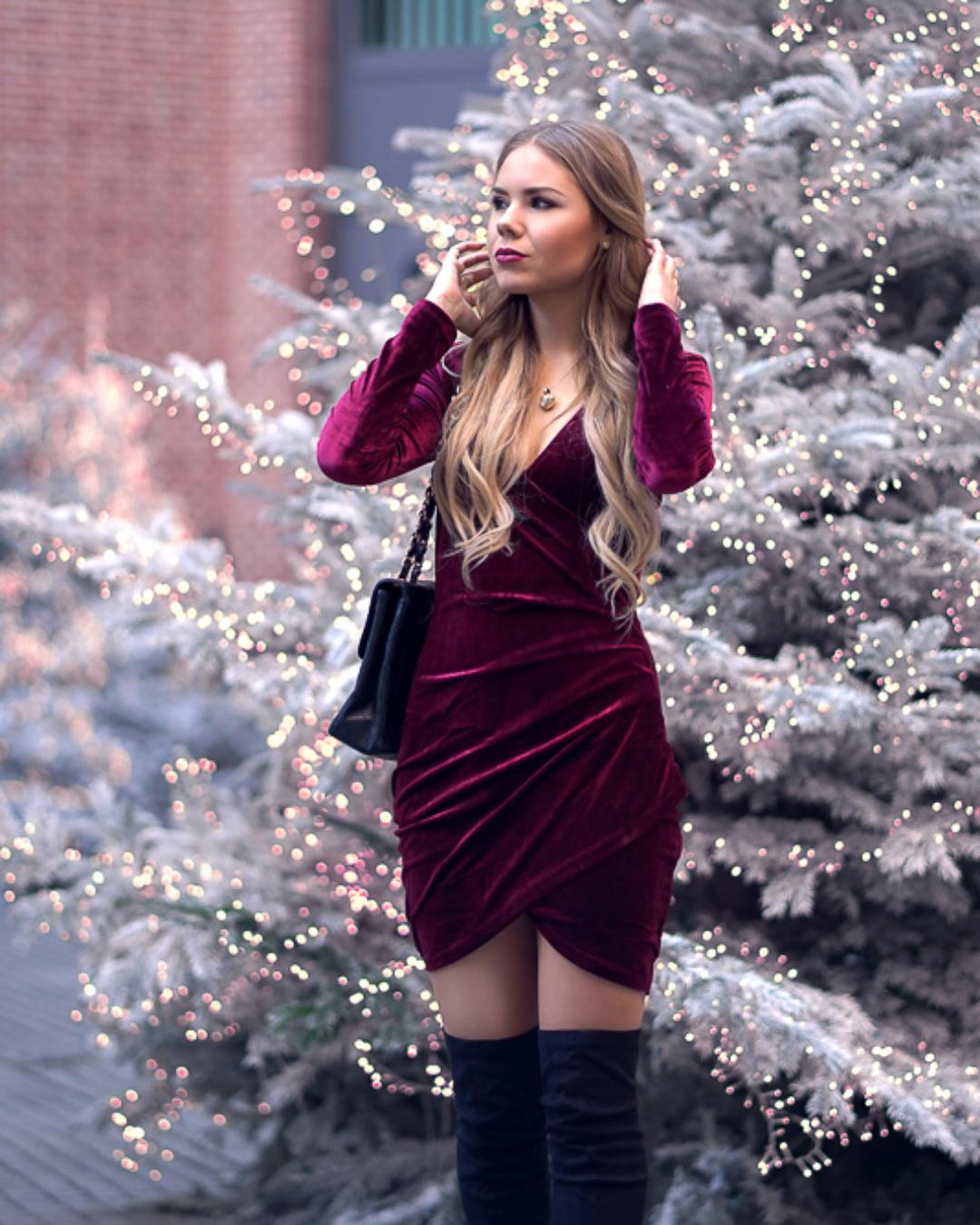 Elegantes Samtkleid für die Weihnachtsfeiertage