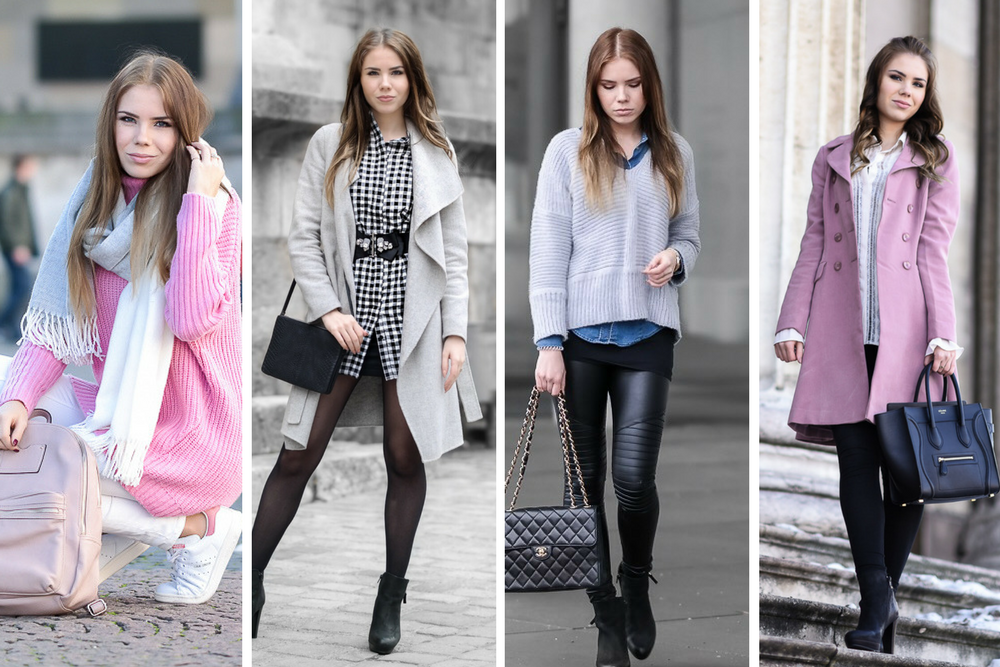 Winter Outfits 2017-Oversize Pullover pink-Karo Muster-Valentinstag Look