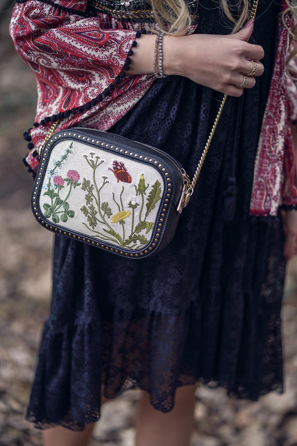 Frühlings Must Have-Blumenstickerei Blumenprint-Bally Tasche
