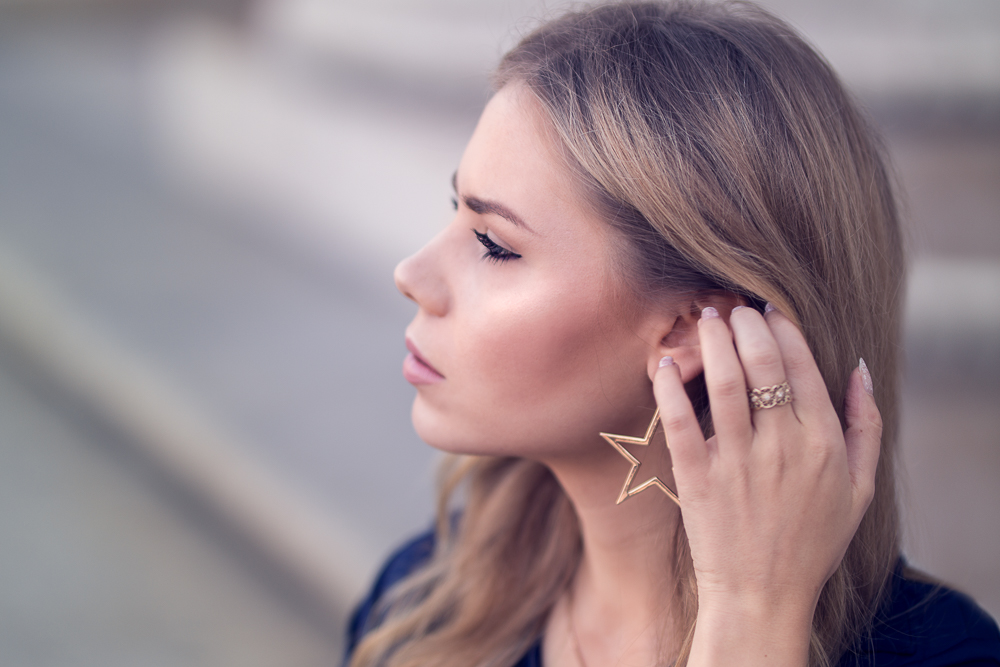 Profil Portrait Sternen Ohrringe