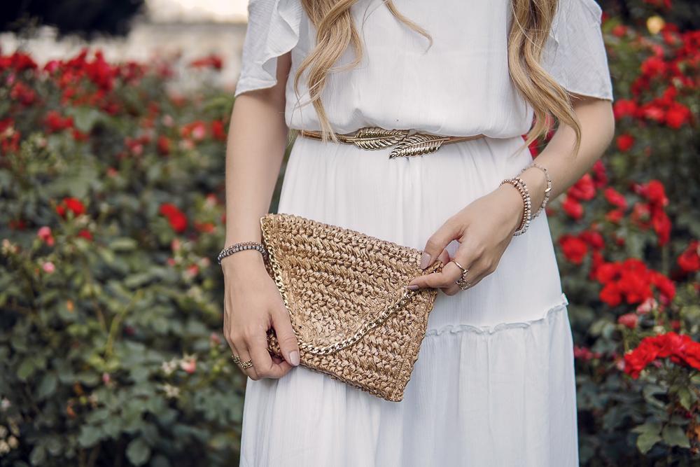 Boho Clutch Tasche aus Stroh-braun gold