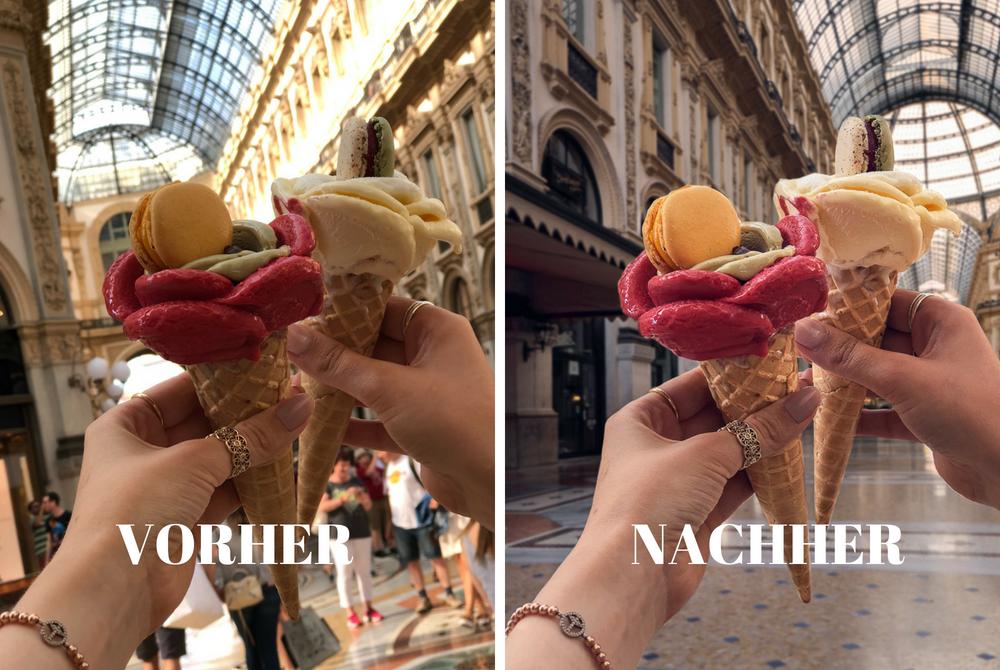 Vorher-Nachher Eisbild Mailand Galleria Vittorio Emanuele