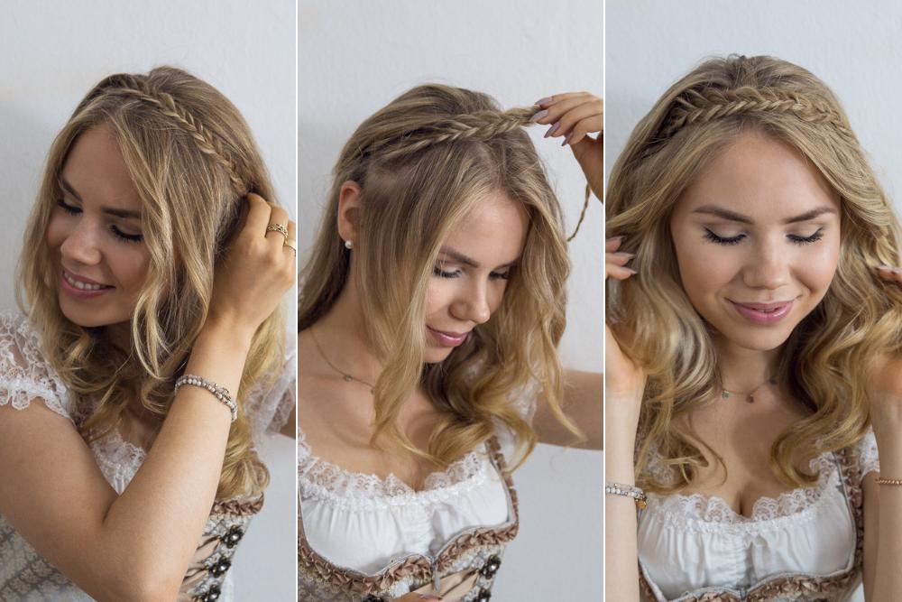 Dirndl Frisur Haarband mit Frischgrätenzopf