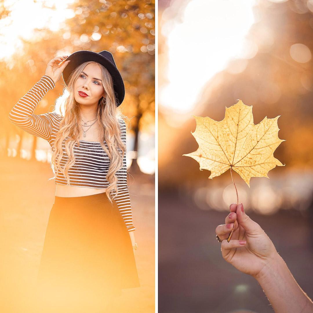 Buntes Herbstblatt vor die Kameralinse halten für ein schönes Bokeh