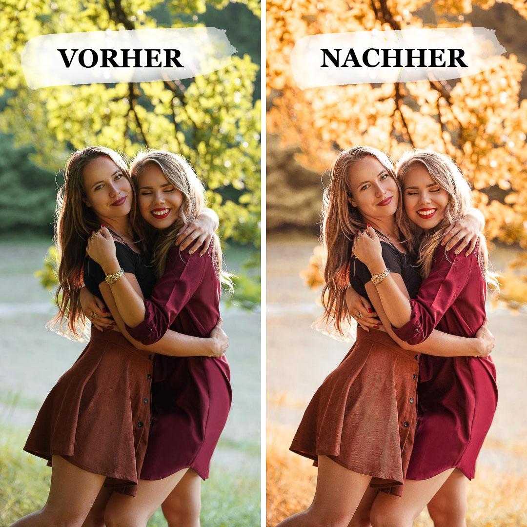 Vorher-Nachher Vergleich Herbst Preset