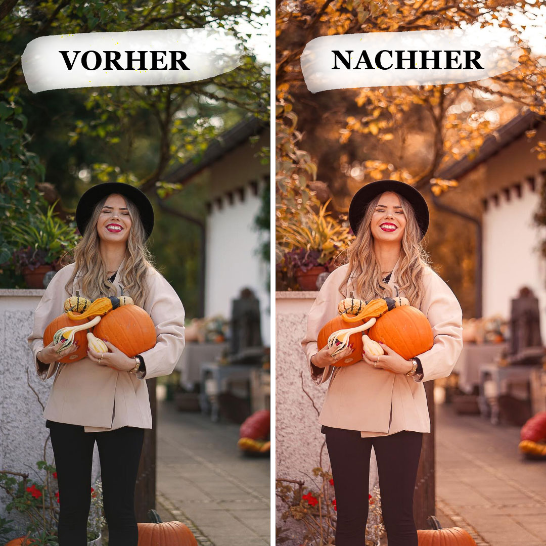 Vergleich Herbst Fotofilter, Original vs. Bearbeitet.