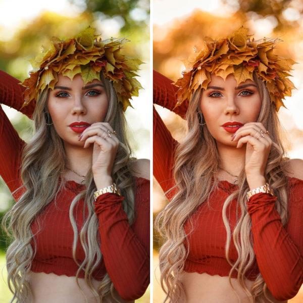 Vorher-Nachher Vergleich Portrait Blätterkrone