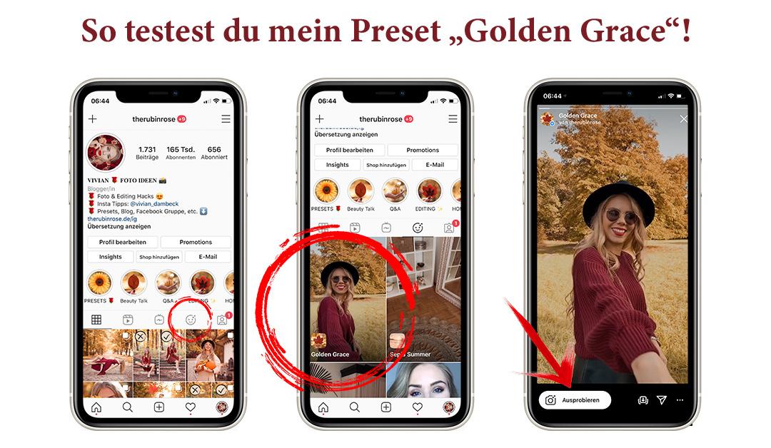 Instagram Story Filter: Anleitung zur Benutzung von dem Herbstpreset Golden Grace